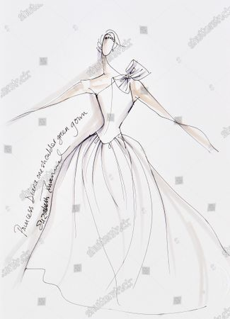 A sketch of the 'one shoulder green gown' created for Princess Diana.   Sketches by Elizabeth Emanuel showing some of Princess Diana's most iconic outfits have emerged for sale.  The seven drawings include Diana's fairytale royal wedding gown and the controversial plunging evening gown that earned her the nickname 'Daring Di' with the world's media.
