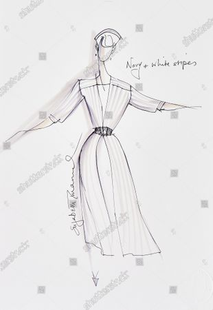 A sketch of a navy and white striped silk dress Diana had made for the Royal tour of the Gulf States with Prince Charles in 1986.   Sketches by Elizabeth Emanuel showing some of Princess Diana's most iconic outfits have emerged for sale.  The seven drawings include Diana's fairytale royal wedding gown and the controversial plunging evening gown that earned her the nickname 'Daring Di' with the world's media.