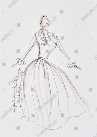 A drawing of a pink chiffon blouse that first attracted Diana to the Emanuels.   Sketches by Elizabeth Emanuel showing some of Princess Diana's most iconic outfits have emerged for sale.  The seven drawings include Diana's fairytale royal wedding gown and the controversial plunging evening gown that earned her the nickname 'Daring Di' with the world's media.