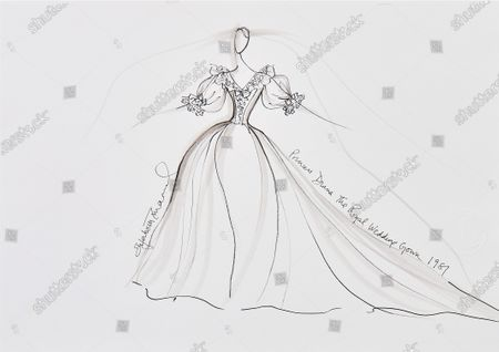 Stock Image of One of two drawings of Princess Diana's fairytale royal wedding gown.   Sketches by Elizabeth Emanuel showing some of Princess Diana's most iconic outfits have emerged for sale.  The seven drawings include Diana's fairytale royal wedding gown and the controversial plunging evening gown that earned her the nickname 'Daring Di' with the world's media.