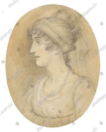 Stock Picture of The unseen sketch of Lady Emma Hamilton   Two previously unseen sketches of Admiral Lord Nelson and his mistress Lady Emma Hamilton today sold for £10,000.  The lost pencil portraits were made by artist John Downman in 1802, three years before Nelson's death at the Battle of Trafalgar.