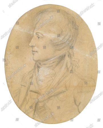 Stock Photo of The unseen sketch of Admiral Lord Nelson  Two previously unseen sketches of Admiral Lord Nelson and his mistress Lady Emma Hamilton today sold for £10,000.  The lost pencil portraits were made by artist John Downman in 1802, three years before Nelson's death at the Battle of Trafalgar.