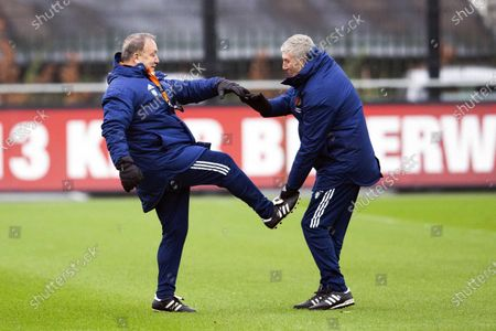 Feyenoord coach Dick Advocaat (L) and Feyenoord assistant coach Cor Pot during a training session Training Complex 1908 in Rotterdam, The Netherlands, 02 December 2020. Feyenoord faces Dinamo Zagreb in an UEFA Europe League group stage match on 03 December.