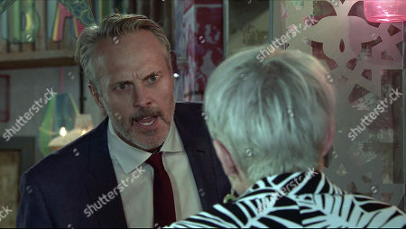 Coronation Street - Ep 10196 Wednesday 16th December 2020 - 2nd Ep Ray Crosby, as played by Mark Frost, is furious with Debbie Webster, as played by Sue Devaney, for failing to consult him about the revised development and tells her that from now on, he makes the decisions.