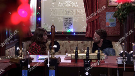 Coronation Street - Ep 10201 Wednesday 23rd December 2020 - 1st Ep David Platt, as played by Jack P Shepherd, confides in Daisy, as played by Charlotte Jordan, that he and Shona are breaking up. Daisy is secretly pleased.