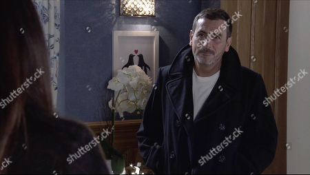 Coronation Street - Ep 10187 & Ep 10188 Monday 7th December 2020 Peter Barlow, as played by Chris Gascoyne, apologises to Carla Connor, as played by Alison King, for his paranoia and getting down on one knee, proposes to her, revealing that he's booked a blessing in Kefalonia.