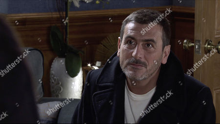 Coronation Street - Ep 10187 & Ep 10188 Monday 7th December 2020 Peter Barlow, as played by Chris Gascoyne, apologises to Carla Connor for his paranoia and getting down on one knee, proposes to her, revealing that he's booked a blessing in Kefalonia.
