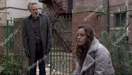 Coronation Street - Ep 10194 Monday 14th December 2020 - 2nd Ep Ray Crosby, as played by Mark Frost, finds Faye Windass, as played by Elle Leach, in Victoria Gardens where she accuses him of trying to rape her. Maria Windass arrives and sends Ray away with a flea in his ear then begs Faye to report him to the police before Gary gets to him.