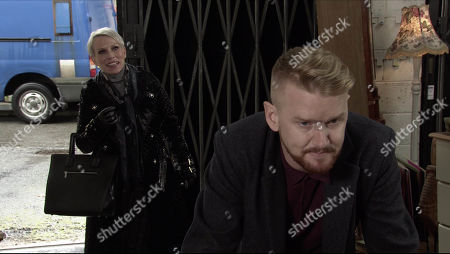 Coronation Street - Ep 10193 Monday 14th December 2020 - 1st Ep Debbie Webster, as played by Sue Devaney, tries to persuade Gary Windass, as played by Mikey North, to reconsider withdrawing the sale of Underworld but Gary refuses to do business with Ray as he's a sex pest leaving Debbie frustrated.