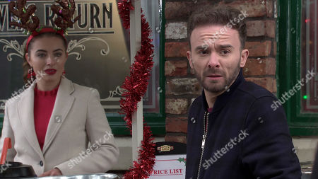 Coronation Street - Ep 10204 & Ep 10205 Friday 25th December 2020 Having returned to the street, David Platt, as played by Jack P Shepherd, and Shona Platt, approach Jenny's drinks stall. But Shona loses it and storms off when she spots Daisy, as played by Charlotte Jordan, being flirtatious with David and storms off.