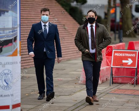 Stock Picture of PC WILLIAM GEORGE SAMPSON (l) arrives at Leeds Magistrates Court with a representative of the Police Federation (r).