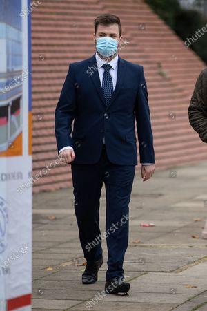PC WILLIAM GEORGE SAMPSON arrives at Leeds Magistrates Court.