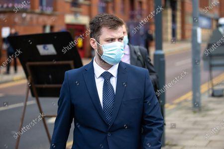 PC WILLIAM GEORGE SAMPSON leaves Leeds Magistrates Court.