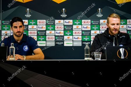 Gent's Milad Mohammadi and Gent's head coach Wim De Decker pictured during a press conference of Belgian soccer club KAA Gent, Wednesday 02 December 2020, in Gent. Tomorrow Gent will meet Czech club Slovan Liberec FC on the fourth day of the group phase (group L) of the UEFA Europa League competition.