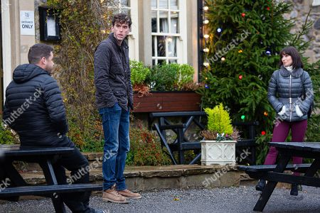 Emmerdale - Ep 8922 & Ep 8923 Thursday 24th December 2020 Marlon Dingle, as played by Mark Charnock, and Aaron Dingle, as played by Danny Miller, are relieved when Leyla Harding, as played by Rokhsaneh Ghawam-Shahidi, agrees to help them.