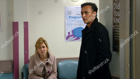 Emmerdale - Ep 8914 Tuesday 15th December 2020 Jai Sharma, as played by Chris Bisson, and Laurel Thomas, as played by Charlotte Bellamy, arrive for the appointment.