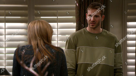 Emmerdale - Ep 8919 Monday 21st December 2020 Jamie Tate, as played by Alexander Lincoln, returns from his trip and Kim Tate, as played by Claire King, tells him that he's made the family look like a laughing stock and leaves him to clean up his mess.