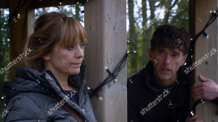 Emmerdale - Ep 8912 Friday 11th December 2020  Marlon Dingle, as played by Mark Charnock, and Rhona Goskirk, as played by Zoe Henry, talk fondly about their son Leo Goskirk, as played by Harvey Rogerson, and what joy he has brought to their lives.