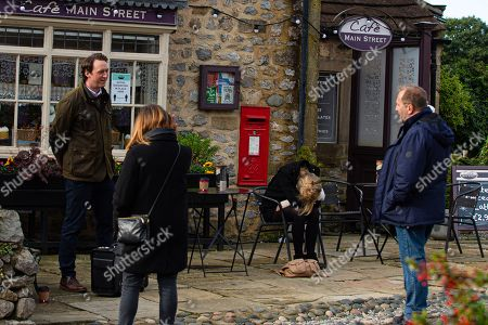 Emmerdale - Ep 8908 Tuesday 8th December 2020 Dawn Taylor, as played by Olivia Bromley, drops unconscious and has a potentially devastating diagnosis. Also pictured: Will Taylor, as played by Dean Andrews, Liam Cavanagh, as played by Jonny McPherson.
