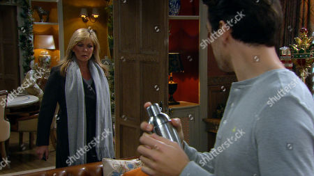 Emmerdale - Ep 8917 Thursday 17th December 2020 -2nd Ep Mack's, as played by Lawrence Robb, tenancy is interrupted by a furious Kim Tate, as played by Claire King, who is back and demands he clean up and then leaves!