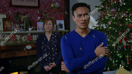 Stock Image of Emmerdale - Ep 8912 Friday 11th December 2020  Laurel Thomas, as played by Charlotte Bellamy, and Jai Sharma, as played by Chris Bisson, struggle to make their decision.