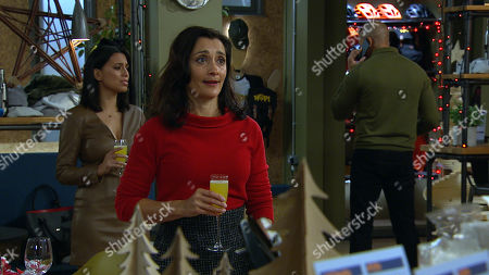 Emmerdale - Ep 8924 & Ep 8925 Friday 25th December 2020 Rishi Sharma prepares to surprise Jai and Laurel's kids by dressing as Santa, but Manpreet, as played by Rebecca Sarker, and Priya Sharma, as played by Fiona Wade, quickly convince him to drop the act.