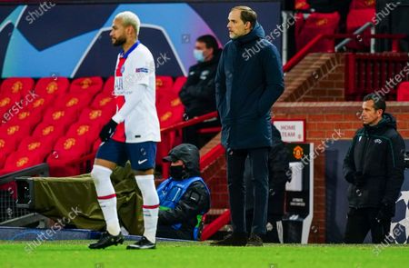Paris Saint-Germain manager Thomas Tuchel alongside Neymar of Paris Saint-Germain