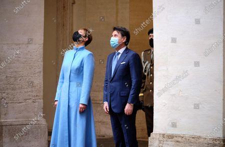 Italian Prime Minister Giuseppe Conte (R) welcomes Estonian President Kersti Kaljulaid (L) at Chigi Palace, in Rome, Italy, 02 December 2020.