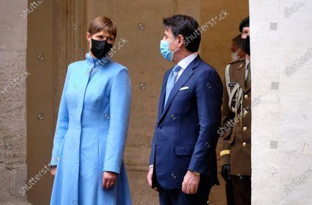 Italian Prime Minister Giuseppe Conte (R) meets Estonian President Kersti Kaljulaid (L) at Chigi Palace, in Rome, Italy, 02 December 2020.