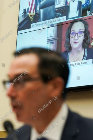 Stock Image of United States Representative Katie Porter (Democrat of California) questions US Secretary of the Treasury Steven T. Mnuchin during a House Financial Services Committee oversight hearing to discuss the Treasury Department's and Federal Reserve's response to the coronavirus pandemic.