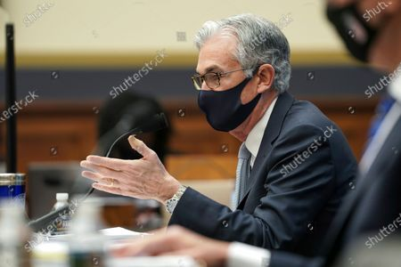 Federal Reserve Chairman Jerome Powell testifies before a House Financial Services Committee hearing on Capitol Hill in Washington