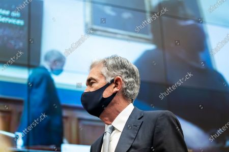 Federal Reserve Chair Jerome Powell appears during a House Financial Services Committee hearing on Capitol Hill in Washington