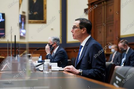 Treasury Secretary Steven Mnuchin gives an opening statement before a House Financial Services Committee hearing on Capitol Hill in Washington