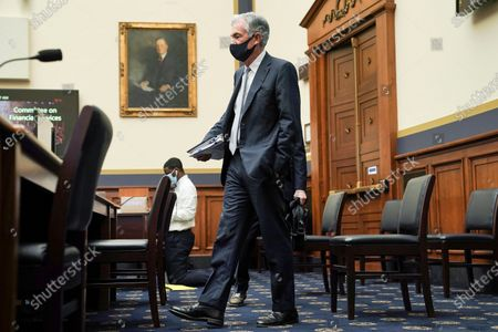 Federal Reserve Chairman Jerome Powell arrives for a House Financial Services Committee hearing on Capitol Hill in Washington