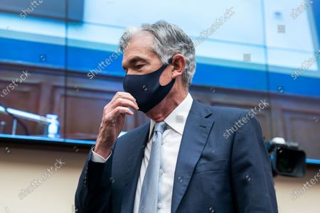 Federal Reserve Chair Jerome Powell arrives to testify before a House Financial Services Committee hearing on Capitol Hill in Washington