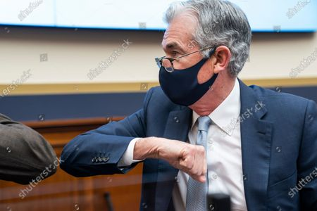 Stock Photo of Federal Reserve Chair Jerome Powell arrives to testify before a House Financial Services Committee hearing on Capitol Hill in Washington