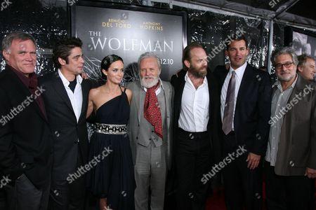 Director Joe Johnston, Benicio Del Toro, Emily Blunt, Sir Anthony Hopkins, Hugo Weaving, Producer Scott Stuber and Producer Sean Daniel