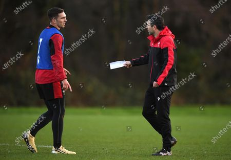 George North and Stephen Jones during training.