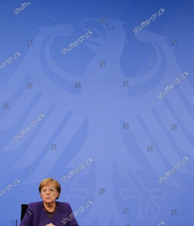 German Chancellor Angela Merkel attends a press conference after German Chancellor Merkel's video conference with German State Premiers about Coronavirus measures, in Berlin, Germany, 02 December 2020.