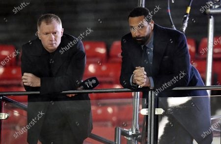 TV pundits and former Manchester United players Paul Scholes (L) and Rio Ferdinand (R) ahead of the UEFA Champions League group H match between Manchester United and PSG in Manchester, Britain, 02 December 2020.