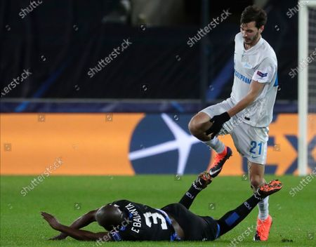 Zenit's Aleksandr Erokhin (R) in action against Brugge's Eder Balanta (L) during the UEFA Champions League group F soccer match between Club Brugge and Zenit St. Petersburg in Bruges, Belgium, 02 December 2020.