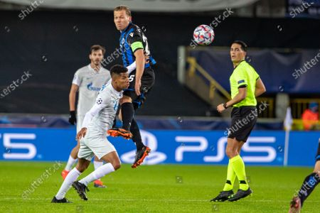 Club's Ruud Vormer and Zenit's Wilmar Barrios fight for the ball during a soccer game between Belgian Club Brugge KV and Russian FC Zenit Saint Petersburg, Wednesday 02 December 2020 in Brugge, game four in the group stage of the UEFA Champions League, in group F.