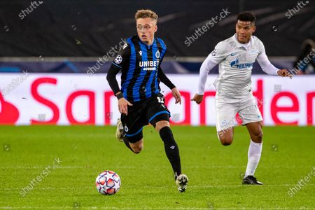Club's Noa Lang and Zenit's Wilmar Barrios fight for the ball during a soccer game between Belgian Club Brugge KV and Russian FC Zenit Saint Petersburg, Wednesday 02 December 2020 in Brugge, game four in the group stage of the UEFA Champions League, in group F.