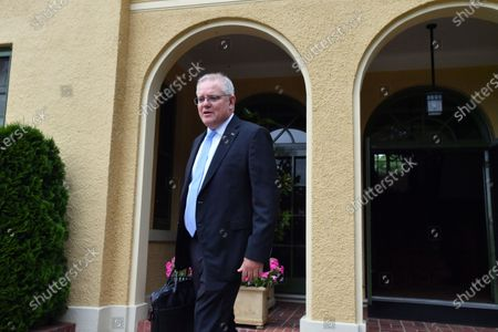 Australian Prime Minister Scott Morrison leaves The Lodge after 14 day quarantine, following his trip to Japan,  in Canberra, Australia, 03 December 2020.
