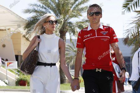 Bahrain International Circuit, Sakhir, Bahrain. Sunday 6 April 2014. Max Chilton, Marussia F1 arrives with his girlfriend Chloe Roberts. World Copyright: Charles Coates/LAT Photographic.