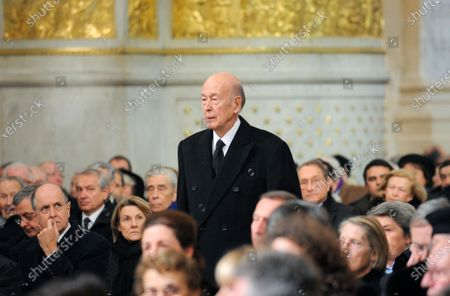 Former French President Valery Giscard d'Estaing arrives for the funeral of Philippe Seguin, the President of the Court of Accounts, in Paris. Valery Giscard d'Estaing, the president of France from 1974 to 1981 who became a champion of European integration, has died at the age of 94, his office and the French presidency said