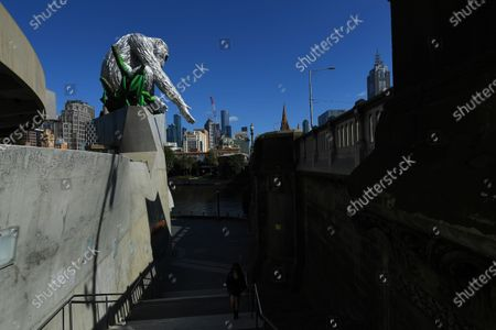 General view of a large-scale sculpture of chimpanzee David Greybeard after it's unveiling in collaboration between Australian visual artist Lisa Roet and wildlife conservation organisation the Jane Goodall Institute Global, outside Hamer Hall in Melbourne, Australia, 03 December 2020.