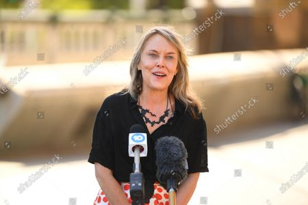 Stock Picture of Australian visual artist Lisa Roet speaks to media during the unveiling of her large-scale sculpture of chimpanzee David Greybeard outside Hamer Hall in Melbourne, Australia, 03 December 2020. The sculpture has been unveiled as part of a collaboration between Australian visual artist Lisa Roet and wildlife conservation organisation the Jane Goodall Institute Global.
