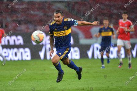 Carlos Tevez of Boca Juniors in action during the round of 16 Copa Libertadores soccer match between Internacional and Boca Juniors in Porto Alegre, Brazil, 02 December 2020.