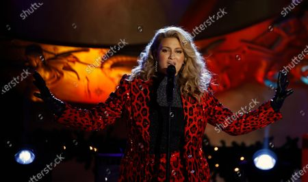 US singer Tori Kelly performs during the 88th Annual Rockefeller Center Christmas Tree during the 88th annual tree lighting ceremony at the Rockefeller Center in New York, USA, 02 December 2020.